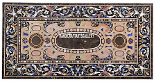 4'x2' Brown Marble Scagliola Art Dining Table Top Marquetry Home Deco Gift H3358