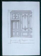 1880 FRENCH Architecture imprimé style Louis XV Salon d'un hôtel rue Cheverus