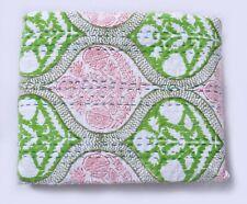Vintage Handmade Kantha Quilt Bedspread Bedding Throw Cotton Block Printed Decor