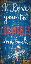 """Los Angeles Dodgers I love you to and Back Wood Sign - NEW 6"""" x 12"""" Wall Decor"""