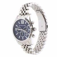 Michael Kors Lexington Chronograph Mens Watch MK8280 | Silver | Navy Blue Dial