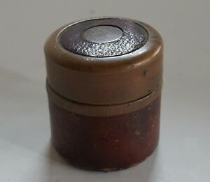 Antique Round Can Traveling Inkwell Brass Leather England 1890