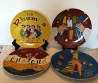 Set (4) Pottery Barn THE DANCE PATTERN Dinner Plates GREAT GRAPHICS! EUC