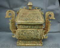 """14.4 """"Antiquité Chine Bronze Ware Dynastie Bête Couvercles Pot Crock Alimentaire"""