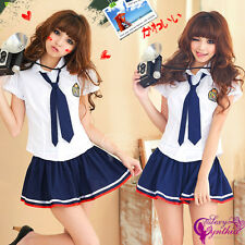Sexy School Girl Student Uniform w/Blue Tie Women Costume for Cosplay Halloween
