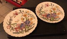 2 X antigua victoriana Antique Victorian Wedgwood queensware Etruria Ranunculus 21 cm placas del desierto