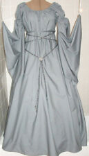 New Renaissance Goth Grey Chemise Puff shoulder & long sleeve costume Gown