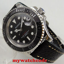 41mm Parnis black dial Sapphire glass 21 jewels miyota 8215 automatic mens watch