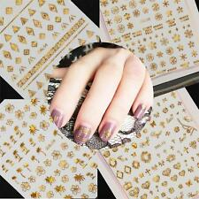 5 Pcs/set  Decals DIY Nail Art Manicure Tips 3D Metallic Gold Stickers Template