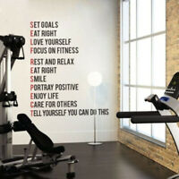 Gym Fitness Wall Sticker Motivational Quote Vinyl Art Removable Home Room Decor