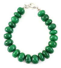 "300.00 Cts Earth Mined 8"" Inches Long Green Emerald Round Shape Beads Bracelet"
