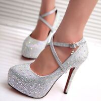 Women Crystal Pumps Shoes Platform High Heels  Red Silver Platform High Heels