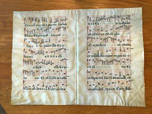 Original antique vellum sheet music manuscript. Double page. Text of CREDO. .