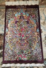 Persian silk rug qomm/qumm handmade 100% pure silk with sign/ Authentic Qomm
