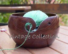 "Handmade Rosewood Wooden Yarn Bowl Handmade For Knitting And Crochet 4"" x 2.5"""