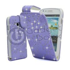 CASE FOR SAMSUNG GALAXY S3 MINI GLITTER FLIP LILAC PU LEATHER POUCH PHONE COVER