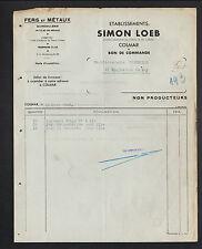 """COLMAR (68) QUINCAILLERIE & METAUX """"Simon LOEB"""" en 1949"""