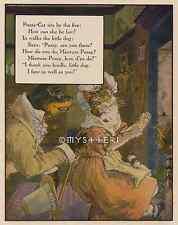 Mistress Pussy Cat-Dog-Sit By Fire-Mother Goose-1912 ANTIQUE VINTAGE COLOR PRINT