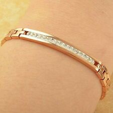 """Fashion Womens Mens Rose Gold Filled Clear Crystal Charm Bracelet 7.67"""""""