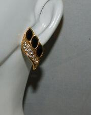 Vintage SAL Swarovski Black Marquise Crystal Gold Pierced Earrings Cb 12