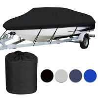Waterproof Heavy Duty Trailerable Boat Cover Fishing V-Hull Tri-Hull Runabout