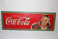 """Rare Vintage 1945 Coca Cola Soda Pop Gas Station 34"""" Sign"""