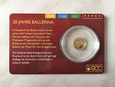 """0,5g 99999 Gold """"Ballerina"""" 5 Dollar Cook Islands 2011 PP Goldmünze Coincard"""