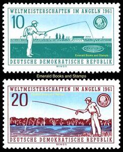 EBS East Germany DDR 1961 Fishing Championships Dresden Michel 841-842 MNH**
