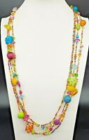 Vintage/Four Strand/Mixed Summer Color Bead Necklace/Boho/Hippie/Ethnic/Necklace