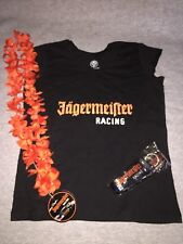 NHRA JAGERMEISTER RACING BLACK T - SHIRT LANYARD AND LEI WOMENS SIZE S