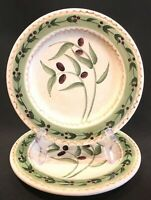 "Oneida Oliveto 8-1/4"" Salad Dessert Plates Hand Painted Stoneware Set of 2"