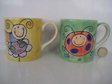 2  X  WHITTARDS OF CHELSEA HANDPAINTED LADYBIRD CATERPILLER SMALL TEA COFFEE MUG