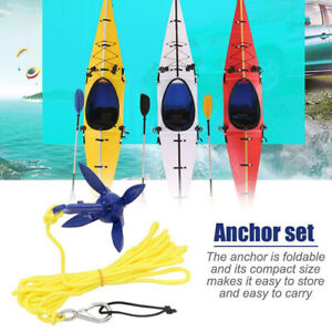 UK Canoe Kayak Boat Sailboat Folding Aluminum Anchor Kit 5M Rope Fishing Kits