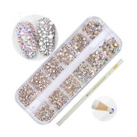 Mixed Size Nail Rhinestones and Dotting Pen AB Crystal Nail Art Decorations Set