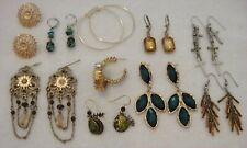 Vintage and Now Pierced Earrings Lot Golden Teal Leaves 10 Pair