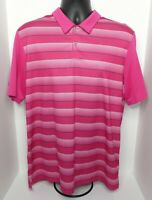 Men's Adidas Golf Short Sleeve Polo Shirt Size Large Pink Striped