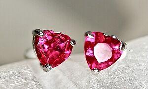925 Sterling Silver Heart Shape Red Cubic Zirconia CZ Earrings Pierced Rhodium