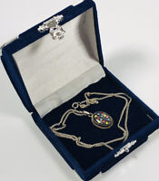 Vintage Necklace Sterling Silver 925 Chain & Dainty Pretty Enamel Floral Pendant