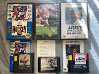 Sega Genesis BUNDLE/LOT NHLPA HOCKEY + Sports Talk Football 93 + ANDRETTI RACING