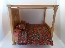 Dolls House Miniature 1:12 Scale Bedroom Furniture Wooden Oak Four Poster Bed
