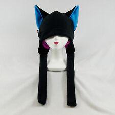 PAWSTAR Dog Fox CANINE wolf Hat ski Anime goth FLEECE ear flap emo Black Blue