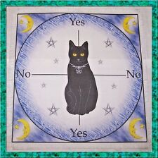 Midnight Cat Scrying/Dowsing Mat ideal for use with a pendulum, Wicca divination