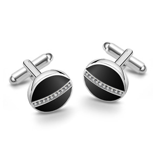 Silver and Enamel Round Cufflinks Created with Swarovski® Crystals