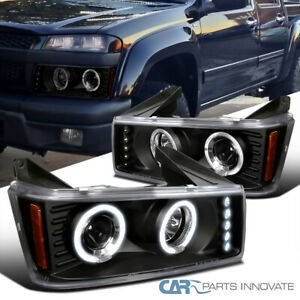For 04-12 Chevy Colorado GMC Canyon Projector Headlights+LED Halo & LED Lamps