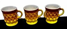3 Anchor Hocking Fire King Kimberly Coffee Mugs Brown Yellow Free Shipping
