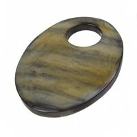 Brown Natural Horn Bone Oval Pendant With Large Hole 54mm Pack of One (B42/9)