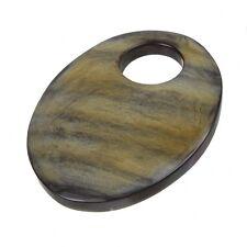 Marron naturel corne os pendentif ovale avec grand trou 54 mm boîte de un (B42 / 9)