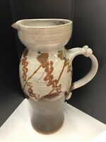 "Old Pottery Beautiful Antique HAND MADE BROWN CERAMIC 11"" PITCHER Ribbon Handle"