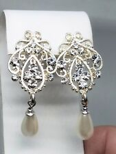 Beautiful and Fancy Silver tone Earrings with Rhinestones Wedding