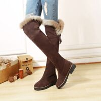 Ladies Lace Up Faux Fur Lined Winter Pull On Over The Knee High Boots Flat Shoes